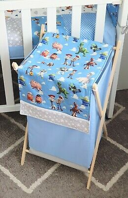 "New handmade ""Toy Story"" Clothes Hamper with wooden stand - Sky blue"