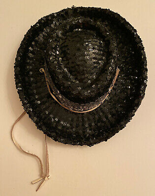 Original Floyette Black Sequin Drill Team Hat Silver Band White Leather Strap