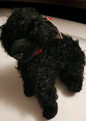 "Ty Beanie Baby W/Tags ~ Smudges ~The Black Dog Poodle 6"" Stuffed Animal Toy 2014"