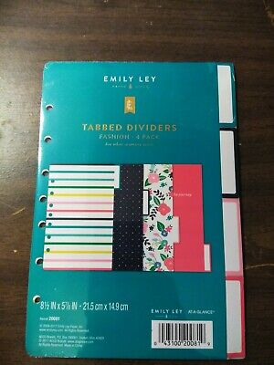 New Sealed At A Glance Emily Ley Size 4 Tabbed Dividers Fashion 4 Pack Refill