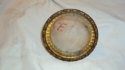 Antique Ornate French clock front door bezel glass parts brass