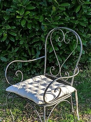 FRENCH bistro antique silver black ARMCHAIR WROUGHT IRON  QUALITY NEW