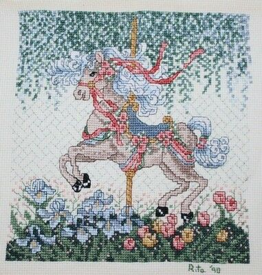 Carousel Horse Bouquet of Pansies Flowers Cross Stitch Completed Finished