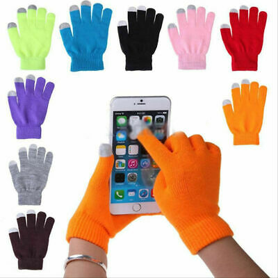 Ladies/Men Wool Hand Touch Screen Winter Gloves Knitted For Smart Mobile Phones
