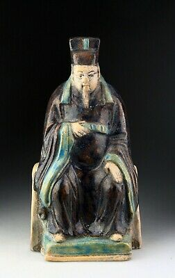 *Sc*A Scarce Chinese Pottery Figure Of A Seated Official, Ming Dynasty! Ii