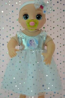 """Dolls Clothes For 17"""" Baby Alive Real As Can Be SILVER SEQUIN DRESS~HEADBAND"""