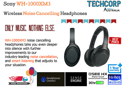 Sony WH1000XM3 Wireless Noise Cancelling Bluetooth Over ear Headphones Black