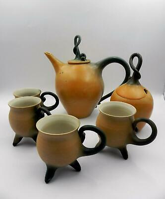 Australian Studio Pottery - *ANGIE RUSSI* Pumpkin TEA SET - Excellent Condition