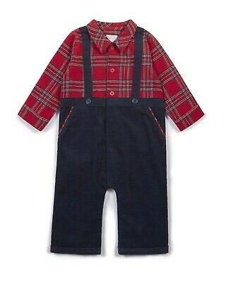 NEW Mamas and Papas Boys All in One Check Mock Romper Suit  6-9- Months -RRP £22