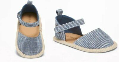 New Infant Girls Old Navy Chambray Railroad Striped Espadrilles Crib Shoes 0-3 M