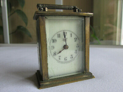 Miniature Antique Brass Waterbury Clock Co. Carriage Clock