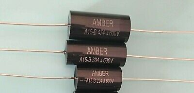 NEW STOCK* 10 x  PURE BLACK 0.022uF / 630 VOLT POLYCARBONATE  AXIAL CAPACITOR