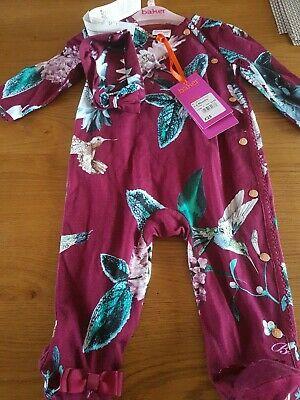 Ted Baker Baby Girls Plum Sleepsuit @ Hairband Age 3-6 Months New