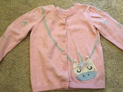 Tu Pink Unicorn Girls cardigan aged 2-3 vgc with buttons