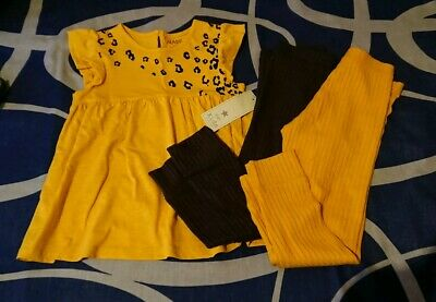 Girls Lepoard Print Top With Leggings Age 4-5 Bnwt