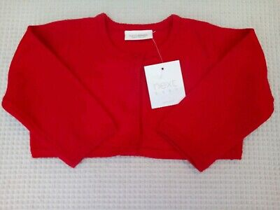 BNWTS NEXT Baby Girls Red Cotton Knitted Bolero Style Short Cardigan 3-6 months
