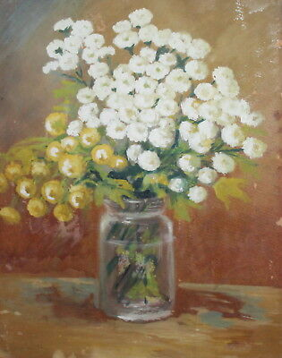 Impressionist floral still life with flowers vintage oil painting signed