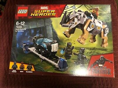 Lego Super Heroes Marvel Black Panther Rhino Face-Off. New. Retired Set 76099