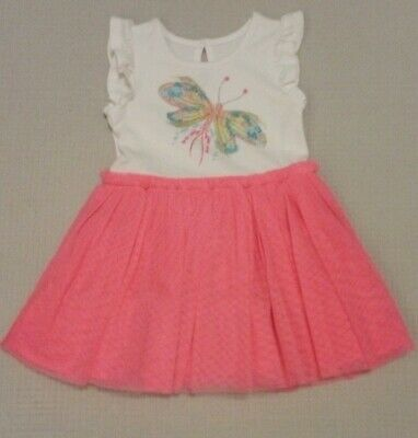 BNWOT MOTHERCARE Baby Girls Neon Pink Tutu Glitter Butterfly Dress Party 3-6mths