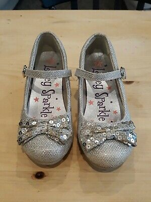Girls Size 12 Lilley Silver Sparkle Heeled Party Shoe