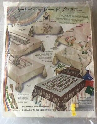 Vtg  Paragon Needlecraft 100% Linen Stamped Embroidery Kit Tablecloth & Napkins