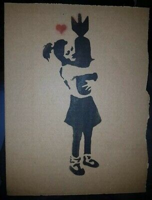 Banksy Dismaland Original Spray With Stencil On Cardboard