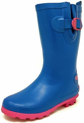 Girls Wellies Teens Childrens Blue Pink Wellington Rain Snow Boots Size 12-4
