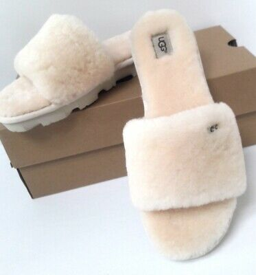 New In Box Womens Size 6 Natural Ugg Cozette Slide Sheepskin Slippers 1100892