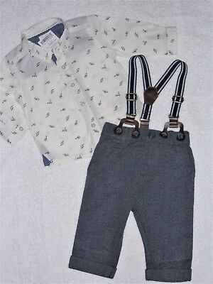 NEXT formal braces traditional dino 3pc outfit  3 - 6 mths  ( New + Tags ) BNWT