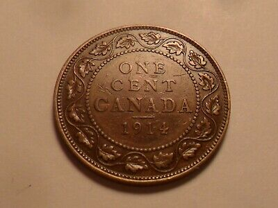 1914 Nice Canada Bronze One Cent Low Mintage 3,405,955!