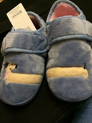 BNWT Girls M&S FAUX FUR SAUSAGE DOG ,DACHSHUND ,SLIPPERS,  BLUE  SIZE 7 INFANT,