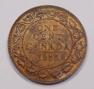 1918 Large Cent AU Lustrous HIGH Grade BEAUTY George V RAZOR Sharp Canada Penny