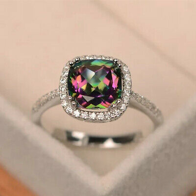 Gorgeous Silver Wedding Rings for Women Jewelry Mystic Topaz Ring Size 8