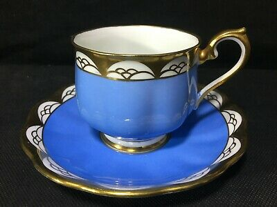 Royal Albert Crown China 241 TEACUP & SAUCER Tea Cup Blue w/ Gold Victoria Shape