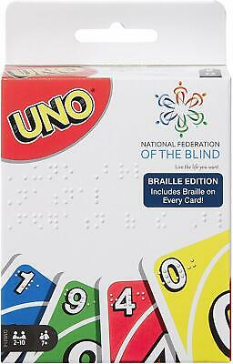 Mattel UNO Braille Edition Card Game (Braille on Every Card) Ships Immediately