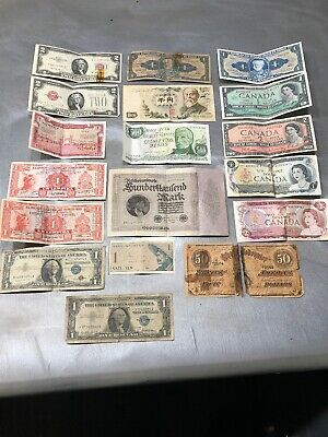 Vintage Foreign World Currency Paper Money Bank Note Bill lot of 18