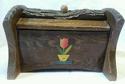 Vintage Wooden Sewing Box with Bark Hand Carved Hinged Lids Crafts Case Tulip