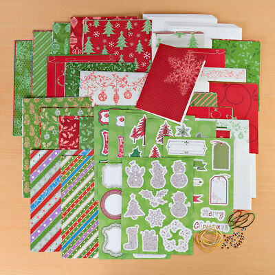 CREATE & CRAFT Glitter Galore Card Kit 30 CHRISTMAS CARDS Die Cut elements