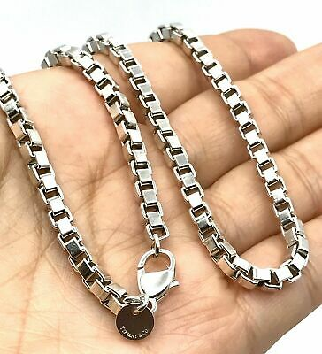 Tiffany & Co Sterling Silver Venetian Box Link Necklace 18 Inch Chain Mint Cond