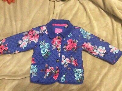 Baby Girls Joules Blue & Pink Floral Quilted Coat Jacket 9-12 Months