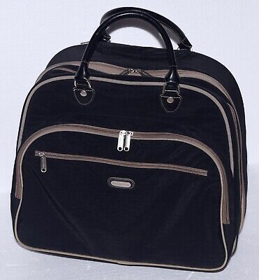 Baggallini Black Tan Travel Attache Carry On Rolling Case Wheeled
