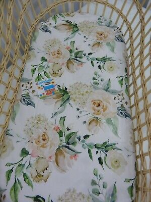 Bassinet Fitted Sheet August Rose 100% Cotton  FITS STANDARD BASSINET