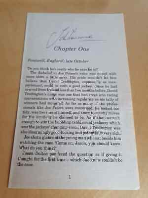 Signed John Francome Book Page Charity Auction Champion Jockey