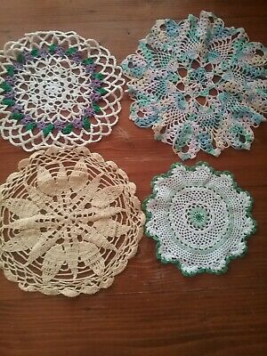4 Vintage Crocheted Doilies