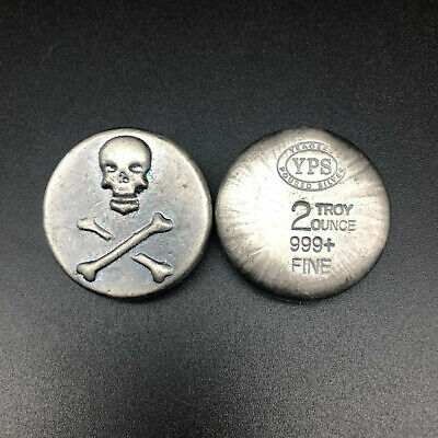 2oz 999 YPS FINE SILVER SKULL & CROSSBONES BULLION BAR -YEAGER POURED SILVER #33