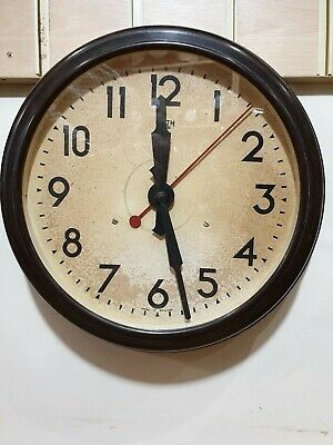 Vintage Large Smiths Sectric Bakelite Circular Office Wall Clock