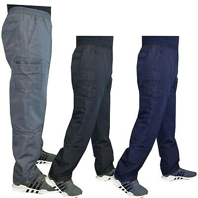 Mens Elasticated Thermal Fleece Lined Cargo Combat Work Trousers Pants Bottoms