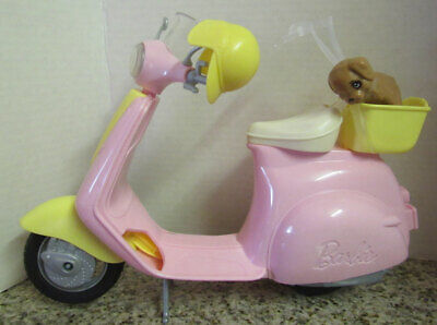 Barbie Pink & Yellow Scooter Moped with Puppy & Helmet