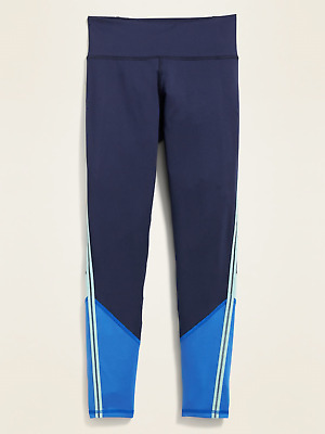 Old Navy Girls Mid-Rise Go-Dry Color-Blocked Leggings: Size XS (5) Blue NWT $20