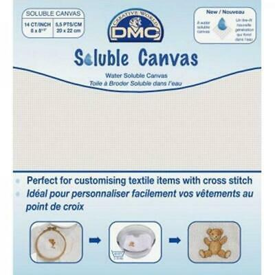 DMC Soluble Canvas for Cross Stitch 14ct 8 x 8.5in x 1 sheet.